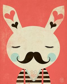 Barney by Andrew Bannecker #rabbit #illustration #moustache #mustache #stache #baffi #movember - Carefully selected by GORGONIA www.gorgonia.it