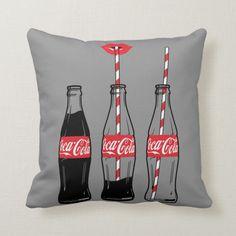Coca-Cola Sipping On Coke Throw Pillow , Coca Cola Gifts, Coca Cola Shop, Coca Cola Decor, Custom Pillows, Decorative Throw Pillows, Coca Cola Merchandise, Lip Logo, Birthday Bbq, Cool Ideas