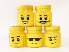 Easy To DIY Lego Head Mason Jars For Your Lego Themed Party -Beau-coup Blog