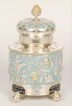 Antique Imperial Russian Faberge Silver 88 Enamel Tea Caddy Vintage Cup Glass