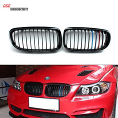 E90 front kidney M tri color ABS racing grill for Bmw 3 Series 2008 2009 2010 2011 325i 330i 328i 335i bumper tuning