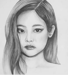 I loves jennie Pink Drawing, Girl Face Drawing, Girl Drawing Sketches, Kpop Drawings, Pencil Art Drawings, Cool Art Drawings, Kpop Black Pink, Celebrity Drawings, Pictures To Draw