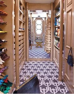 Another view of the impeccably organized, elegant closet that Kelly Wearstler designed for her Hillcrest hideaway in Los Angeles #celebrity #closet #dressing_room