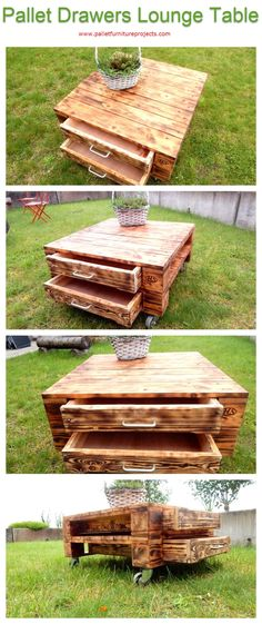 Pallet Drawers Lounge Table   Pallet Furniture Projects. by palletfurnitureprojects