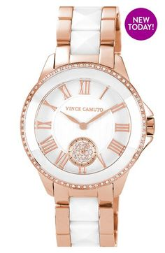Vince Camuto - Ceramic & Steel Pyramid Bracelet Watch