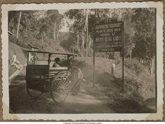 Gemotoriseerd rijtuig op weg met bord ''Bandoeng Vooruit''