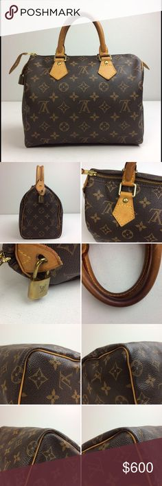 "Louis Vuitton Monogram Speedy 25 Bag Louis Vuitton Monogram Speedy 25 Bag. Coated canvas and vachetta leather. One interior wall pocket.  Serial Number/Date Code: TH0094 In excellent pre-owned condition. Minor wears on the exterior. The corners are in very good condition. Leather aged nicely with very little stains. Minor stains on the linings.   Includes: Louis Vuitton dust bag and lock. Missing keys.  Measurements: 9.75""W x 7.5""H x 5.75""D.  Handle Drop: 3.5"" Louis Vuitton Bags Satchels"
