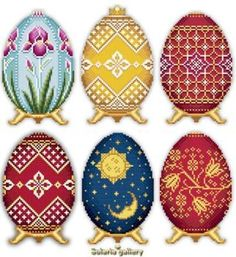 these are cross stitch! Honestly I'm not into the eggs but I love a couple of the motifs