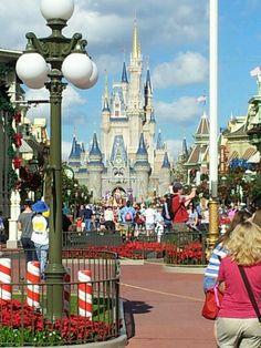 Here is Cinderella's castle as seen from Main Street USA at Disney World Magic Kingdom. It is all done up for Christmas!