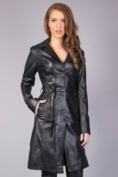 Long Leather Coat, Leather Boots, Leather Jacket, Dress Pants, Dress Skirt, She Is Clothed, Elegantes Outfit, Leather Fashion, Mantel