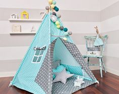Teepee set with floor mat and pillows – Breath of Turquoise