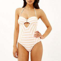 Obsessed with my new coral stripe cut out bandeau swimsuit