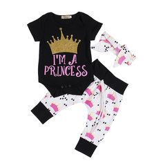 >> Click to Buy << Infant Baby Girls Sets Black Short Sleeve Cotton Bodysuit+Grown Print White Long Pants Leggings+Headband 3pcs Outfits Set #Affiliate