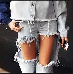 Marques Almeida Pair of jeans Cut Out Jeans, All Jeans, Torn Jeans, Teen Vogue Fashion, Love Fashion, Jeans Fashion, Distressed Denim Jeans, Ripped Denim, Denim Pants