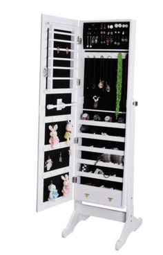 White-Jewelry-Armoire-Mirrored-Cabinet-Storage-Stand-Rings-Necklaces-Bracelets