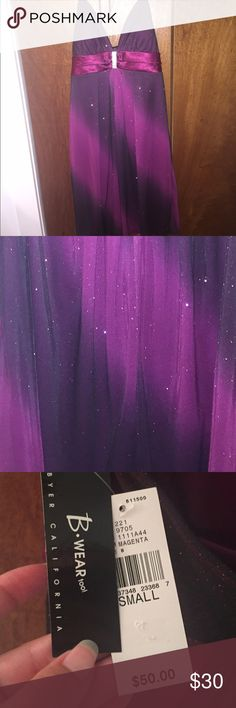 ⭐️NWT⭐️ Magenta/purple sparkle cocktail dress Shimmery light fabric, lined, zip back, satin ribbon (only on front, NO bow on back) with diamond accent Byer Dresses