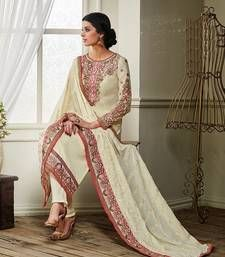 Buy Off White embroidered georgette semi stitched salwar with dupatta party-wear-salwar-kameez online