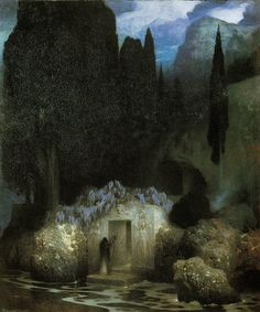 "Inspiring Image: Elevating History to Mythology  Piece: ""Bocklin's Tomb"" (1901) by Ferdinand Keller (1842-1922)   Ferdinand Keller was a Ge..."