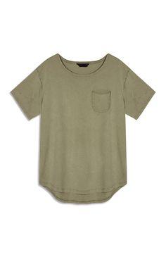 Primark - Khaki Jersey Scoop Hem T-Shirt