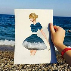 Funny pictures about Ocean Dress. Oh, and cool pics about Ocean Dress. Also, Ocean Dress photos. Creative Photography, Art Photography, Art Sketches, Art Drawings, Pencil Drawings, Funny Art, Creative Art, Creative Drawing Ideas, Painting & Drawing