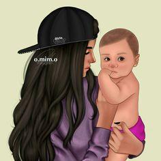 Mother Daughter Art, Mother Art, Pop Art Drawing, Cartoon Girl Drawing, Baby Drawing, Love Mom, Mothers Love, Girly M Instagram, Sarra Art