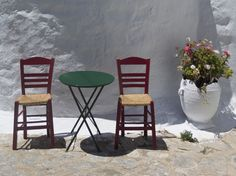 Chairs by the chapel Greece Islands, Outdoor Furniture Sets, Outdoor Decor, Greece Travel, Deep Blue, Beautiful Places, Greek, Chairs, Dining Table