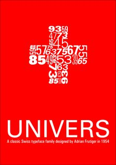 Univers Design by Adrian Frutiger in 1954. San-serif font family. Typeface to assign numbers, different weights.