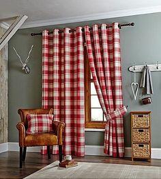 Edinburgh Red Check Woven Curtains