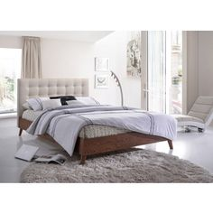 $429 Baxton Studio Alinia Mid-century Retro Modern Light Beige Fabric Upholstered Walnut Wood Full or Queen Size Platform Bed | Overstock.com Shopping - The Best Deals on Beds