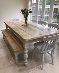 New Farmhouse dining room table and chairs. DIY farmhouse table and gray armchair with nail head details. A beautiful Neutral Modern Farmhouse Dining Room Read Country Furniture, Farmhouse Furniture, Country Decor, Furniture Ideas, Furniture Stores, Farmhouse Interior, Antique Furniture, Furniture Online, Wooden Furniture