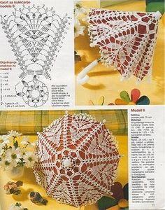 Dolce Vita: free crochet pattern chart, star shape umbrella little umbrella… Filet Crochet, Crochet Motifs, Crochet Borders, Crochet Diagram, Crochet Chart, Thread Crochet, Crochet Stitches, Knit Crochet, Crochet Patterns