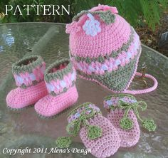 PDF Instant Download - Crochet PATTERN Set - Blossom Hat, Baby Booties and Baby Thumb-less  Mittens by AlenasDesign on Etsy, $14.99