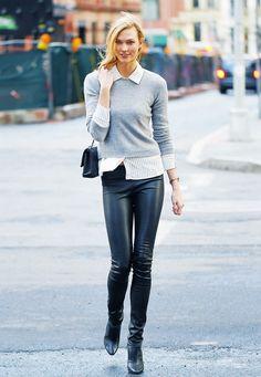karlie-kloss-street-style-leather-legging-calca-de-couro-legging-sueter-camisa.jpg (600×867)