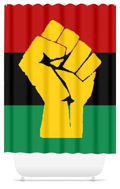 RBG Flag w/Yellow Fist Shower Curtain available now at Www.chocolateancestor.com @chocolateancestor  #supportblackbusiness #rbg #rbgflag #bathroom #showercurtain #shower #shopify #marcusgarvey #chocolateancestor #buyblack #blackfriday #black #blackexcellence