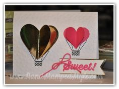 Simple Heart Hot Air Balloon card made with Celebrate Today set from http://www.HandStampedStyle.com