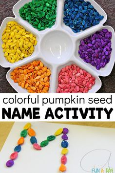 A fun preschool name recognition activity using colorful pumpkin seeds! There are DIY instructions included for dyeing the pumpkin seeds, including tips on how to get them bright and vibrant colors! This art project would be perfect to display in the classroom, and I love how it also works on fine motor skills and name recognition. Early Learning Activities, Name Activities, Autumn Activities For Kids, Motor Activities, Craft Activities For Kids, Preschool Activities, Crafts For Kids, Preschool Names, Preschool Lesson Plans