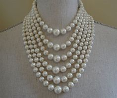 Vintage Pearl Necklace 6 Strands Pearls Hand Knotted  1950s to 1960s by AlexiBlackwellBridal, $89.00