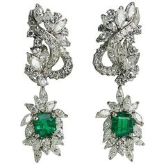 GIA certified Colombian Emerald Diamond Platinum Earrings ($17,215) ❤ liked on Polyvore featuring jewelry, earrings, platinum diamond earrings, emerald earrings, emerald jewellery, platinum jewellery and emerald diamond earrings