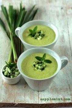 Avocado, Cucumber n Lemon Grass Soup    Recipe on www.aapplemint.com