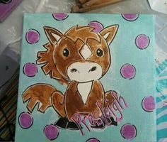 easy acrylic painting ideas for beginners on canvas Horse Canvas Painting, Kids Canvas Art, Unicorn Painting, Canvas Paintings, Horse Paintings, Painted Canvas, Mini Canvas, Canvas Ideas, Acrylic Painting For Beginners