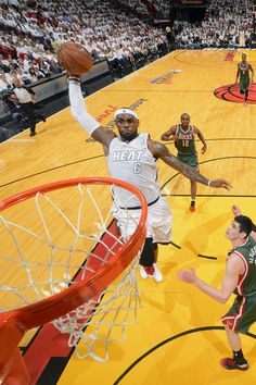 LeBron James of the Miami Heat goes up for a dunk against the Milwaukee Bucks in Game One of the Eastern Conference Quarterfinals during the 2013 NBA Playoffs on April 21, 2013
