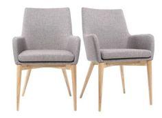 Lot de 2 fauteuils design bois clair et tissu gris SHANA -