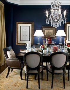 Elegant Transitional Dining Room by Jane Lockhart on HomePortfolio - love this paint tone.  Old Navy from Benjamin Moore.  Looks like a satin finish.  Like the contrast of the soft gold curtain.