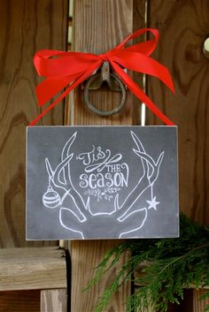 Christmas Decor. Tis the Season Chalk Sign with Ribbon.