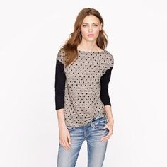 Linen colorblock dot top - long-sleeve tees - Women's knits & tees - J.Crew