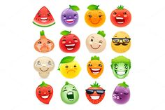 Funny Cartoon Fruits and Vegetables by Voysla's Shop on Creative Market