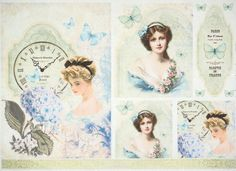 Rice Paper for Decoupage Decopatch Scrapbook Craft Sheet Vintage Girls Blue