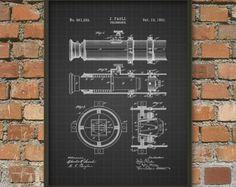 Telescope Patent Wall Art Poster - Marine Home Decor - Nautical Art Print - Astronomy Giclee Art Print