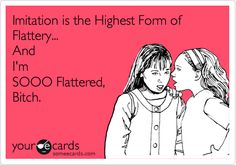 If Imitation is the Highest Form of Flattery... I'm sooo Flattered, Bitch. Seriously the story of my life!!!!!! :-)