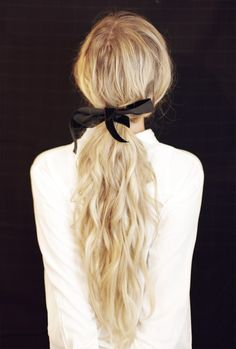 Black Ribbon Ponytail┊ HAIR TUTORIAL - maybe use a different  ribbon